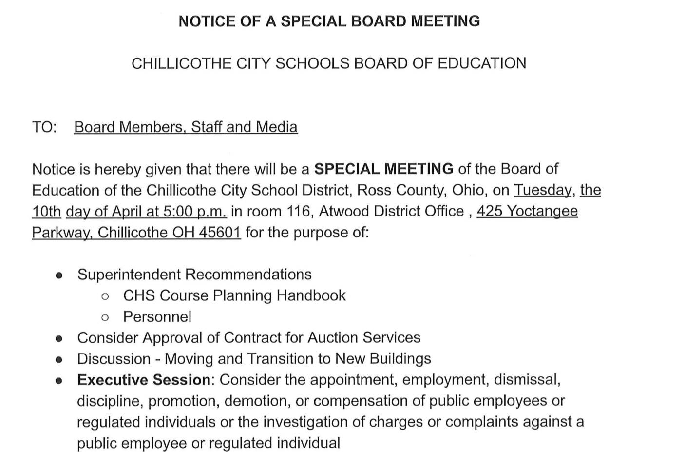 Notice of Special BOE Meeting April 10