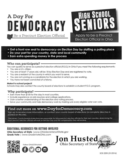 Be a Student Precinct Worker - Serve Our Community