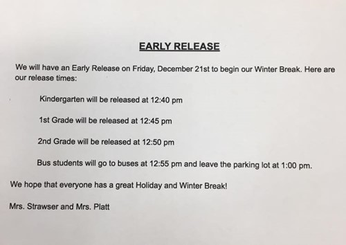 2018 Early dismissal CPS